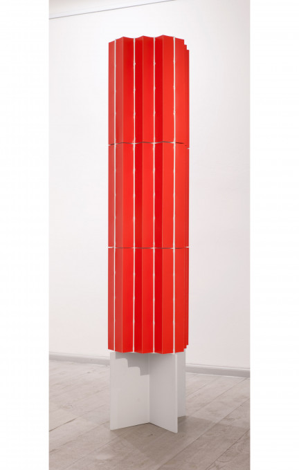 o. T. (Rocket), 2014, lacquer, board, wood, 200 x 45 x 45 cm