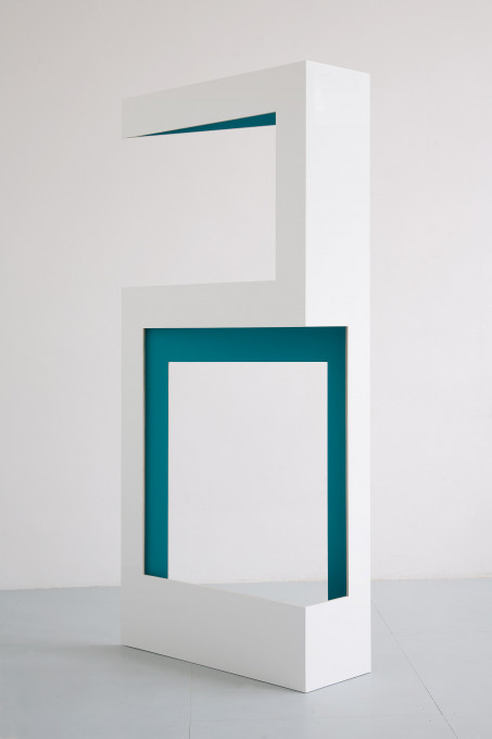 Nein (petrol), 2011, wood, lacquer, high gloss lacquer, 245 x 116 x 36 cm