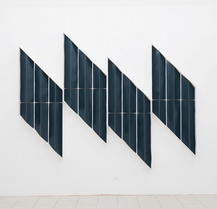 o. T. (Rauten), 2014, lacquer, board, wood, four parts, each element 180 x 70 x 12 cm